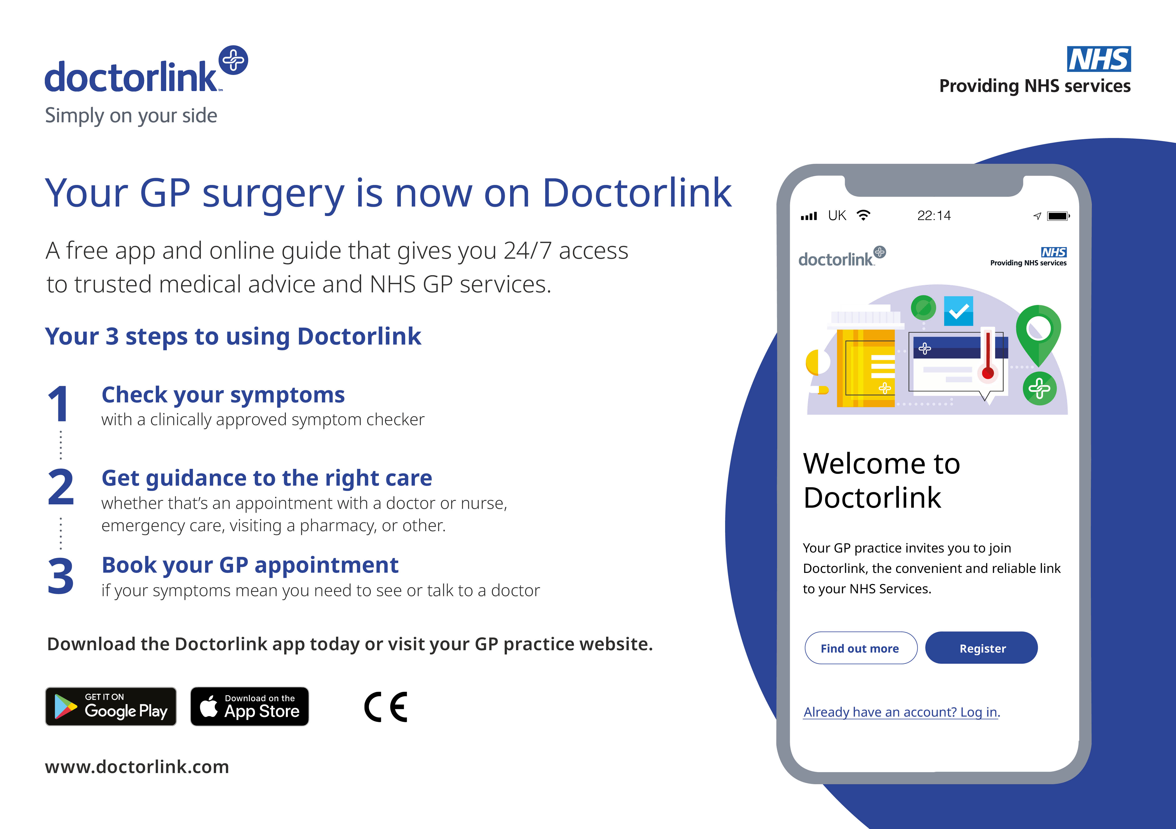 Your GP surgery is now on Doctor Link - text in full below